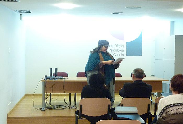 Iolanda Aldrei no momento da súa intervención