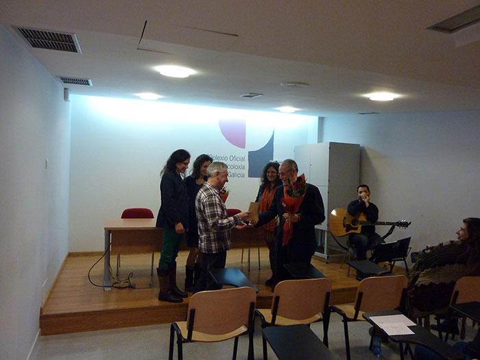 Momento da entrega do premio a Ramón Sandoval Pérez